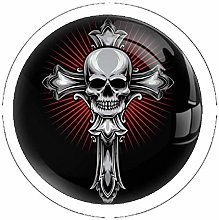 Cross with Skull Set of 4 Dresser Knobs - Colorful