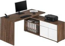 Crostata Desk & Return (Dark Oak/ White Gloss),