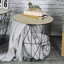 Crouse Metal Wire Basket Wooden Top Side Table
