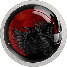 Crow Red Blood Moon 4 Pieces Crystal Glass
