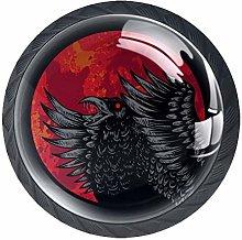 Crow Red Blood Moon Cabinet Door Knobs Handles