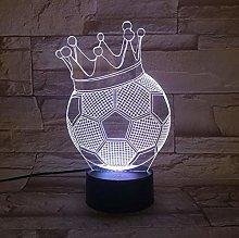 Crown Football 3D Hologram Lamp 7 Color Change