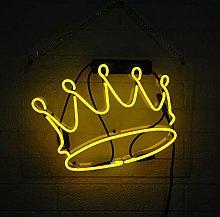 Crown Neon Sign Wall Lights, Handmade Real Glass