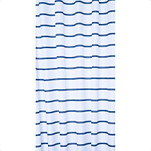 Croydex Navy Pinstripe Textile Shower Curtain 180