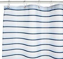 Croydex Navy Pinstripe Textile Shower Curtain with