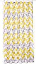 Croydex Yellow & Grey Chevron Textile Shower