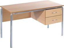 Crush Bent Teachers Desk With 2 Drawers,