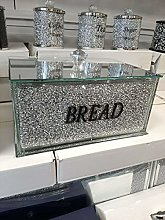Crushed Diamond Crystal Filled Bread bin in Silver
