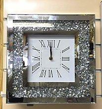 Crushed diamond silver 30x30 cm square wall clock