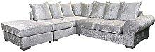 Crushed Velvet Corner Sofa Suite Left Right Silver