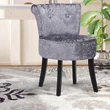 Crushed Velvet Dark Grey Dressing Table Stool