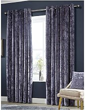 Crushed Velvet Fully Lined Curtains Ring Top Pair