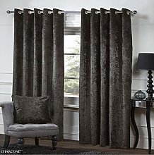 Crushed Velvet Readymade Curtain Pair Ring Top