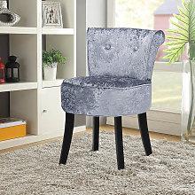 Crushed Velvet Silver Grey Dressing Table Stool