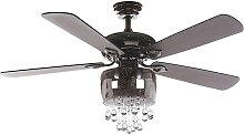 Crystal Ceiling Fan with Light Glass Shade Speed