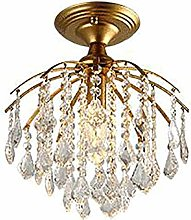 Crystal Ceiling Light Fixture Matte Bronze Finish