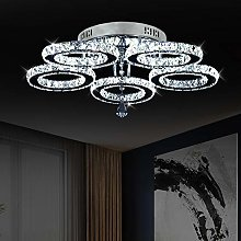 Crystal Chandelier, 5 Rings LED Ceiling Lights