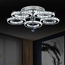 Crystal Chandelier, 5 Rings LED Crystal Ceiling