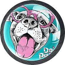 Crystal Glass Drawer Pulls Dog with Glasses Round