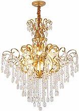 Crystal Hanging Light Fixture Gold Luxury Design