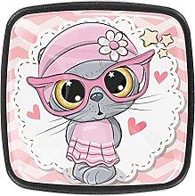 Crystal Knobs Black Drawer Pulls Cute Gray cat