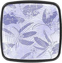 Crystal Knobs Black Drawer Pulls Purple Leaves