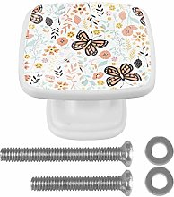 Crystal Knobs White Drawer Knob Butterfly Flowers