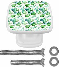 Crystal Knobs White Drawer Knob Watercolor Cactus