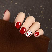 CSCH False Nails24pcs red Pearl Gloss Short Style