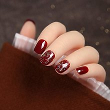 CSCH False Nails24pcs Super Paillette Cherry red