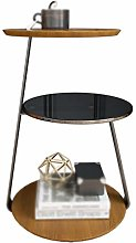 CSQ Multifunctional Sofa Table, Wooden Small Round
