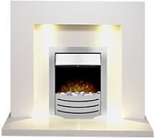 Cuba White Marble Fireplace with Comet Brushed