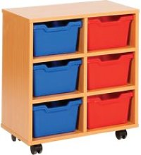 Cubby Tray Storage Unit With 6 Trays, Blue
