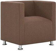 Cube Armchair Brown Fabric