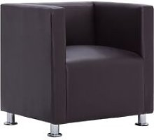 Cube Armchair Brown Faux Leather