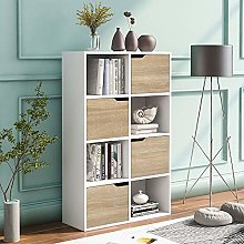 Cube Storage Unit 4 Tier Bookcase with Doors 8