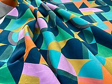Cubism Retro Block Soft Velvet Upholstery Curtain