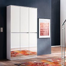Cubix Mirrored Hallway Wardrobe In White With 6