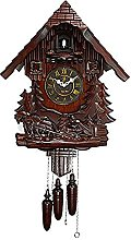 Cuckoo Clock with Hand-Painted Flowers, Leaves,