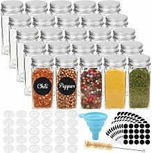 CUCUMI 25pcs 4oz Glass Spice Jars Square Empty