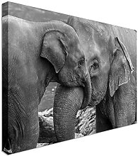 Cuddling elephant and baby elephant - Canvas Art