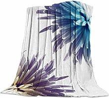 Cuddly Blanket Blue Chrysanthemum Blanket