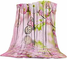 Cuddly Blanket Butterfly Water Wave Pink Green
