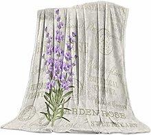 Cuddly Blanket Lavender Flowers Purple Leaves