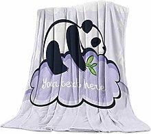 Cuddly Blanket Panda Purple Blanket Microfibre