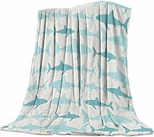 Cuddly Blanket Shark Blue Pattern Blanket