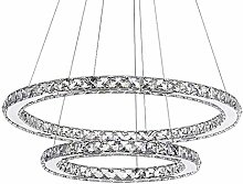 CUICAN Modern LED 50W Crystal Pendant Light,Ring