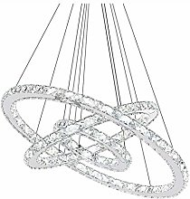 CUICAN Modern LED 72W Crystal Pendant Light,3 Ring