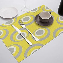 Cup Pad Yellow Placemat Polyester Cotton Linen