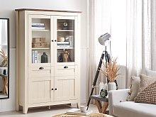 Cupboard Cream MDF Glass Doors 2 Cabinets 2